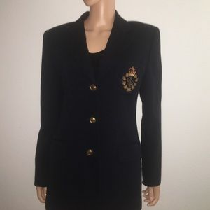 Lauren Ralph Lauren Wool Creat Blazer Navy Blue 10